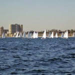 The women's fleet sails upwind with speed in front the Long Beach city front during the ICSA/LaserPerformance Singlehanded National Championship 2012.