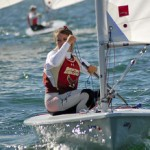 Winner, Erika Reineke of Boston College leads the fleet of sailors downwind during the 2012 ICSA/LaserPerformance Singlehanded Championship.