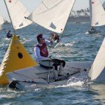 Winner, Juan Maegli of the College of Charleston rounds the leeward mark in 1st during the ICSA/LaserPerformance Singlehanded Nationals 2012.